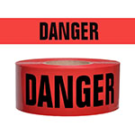 "Presco Standard Red 2 mil DANGER Barricade Tape 3"" x 300' - B332R21 (Case of 16 Rolls) ES9808"