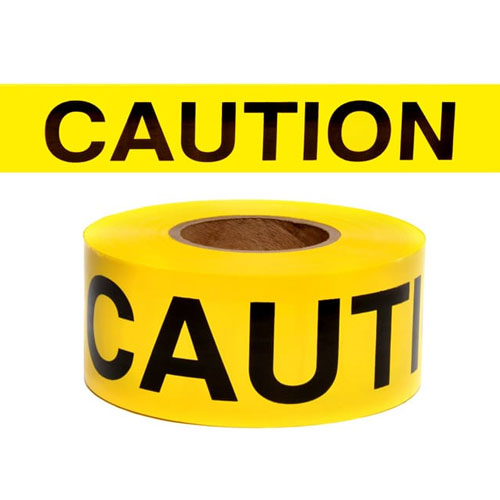 "Presco Standard Yellow 2 mil CAUTION Barricade Tape 3"" x 300' - B332Y16 (Case of 16 Rolls)"