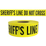 "Presco Standard Yellow 2.5 mil SHERIFFS LINE DO NOT CROSS Barricade Tape 3"" x 1000' - B31022Y14 (Case of 8 Rolls) ES9812"
