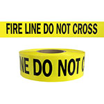 "Presco Standard Yellow 2.5 mil FIRE LINE DO NOT CROSS Barricade Tape 3"" x 1000' - B31022Y15 (Case of 8 Rolls) ES9813"