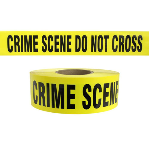 "Presco Standard Yellow 2.5 mil CRIME SCENE DO NOT CROSS Barricade Tape 3"" x 1000' - B31022Y49 (Case of 8 Rolls)"