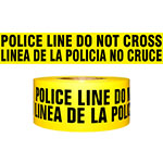 "Presco Standard Yellow 2.5 mil POLICE LINE DO NOT CROSS (Bilingual) Barricade Tape 3"" x 1000' - B31022Y91 (Case of 8 Rolls) ES9816"