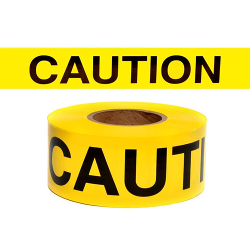 "Presco Standard Yellow 2.5 mil CAUTION Barricade Tape 3"" x 300' - B3322Y14 (Case of 16 Rolls)"
