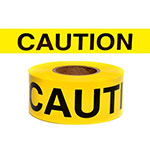 "Presco Standard Yellow 2.5 mil CAUTION Barricade Tape 3"" x 300' - B3322Y14 (Case of 16 Rolls) ES9817"