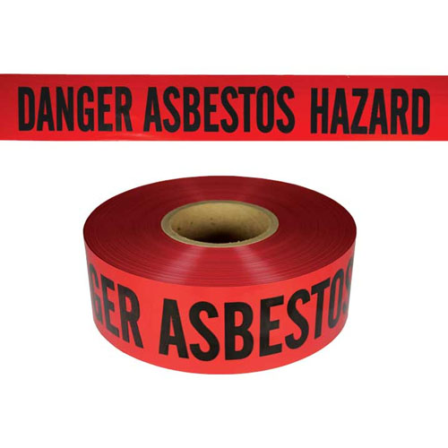 "Presco Standard Red 3 mil DANGER ASBESTOS HAZARD Barricade Tape 3"" x 1000' - B3103R4180 (Case of 8 Rolls)"