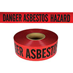"Presco Standard Red 3 mil DANGER ASBESTOS HAZARD Barricade Tape 3"" x 1000' - B3103R4180 (Case of 8 Rolls) ES9818"