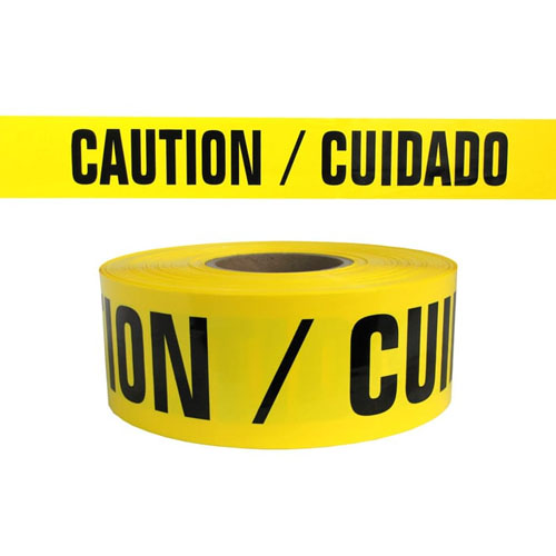 "Presco Standard Yellow 3 mil CAUTION/CUIDADO Barricade Tape 3"" x 1000' - B3103Y13 (Case of 8 Rolls)"