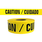 "Presco Standard Yellow 3 mil CAUTION/CUIDADO Barricade Tape 3"" x 1000' - B3103Y13 (Case of 8 Rolls) ES9822"