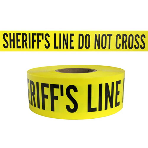"Presco Standard Yellow 3 mil SHERIFFS LINE DO NOT CROSS Barricade Tape 3"" x 1000' - B3103Y14 (Case of 8 Rolls)"