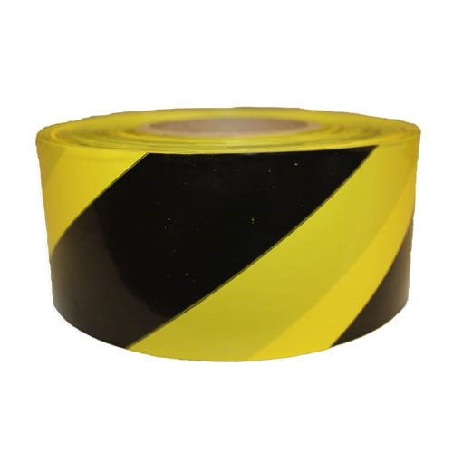 "Presco Standard 3 mil Yellow and Black Stripe Barricade Tape 3"" x 1000' - B3103Y18 (Case of 8 Rolls)"