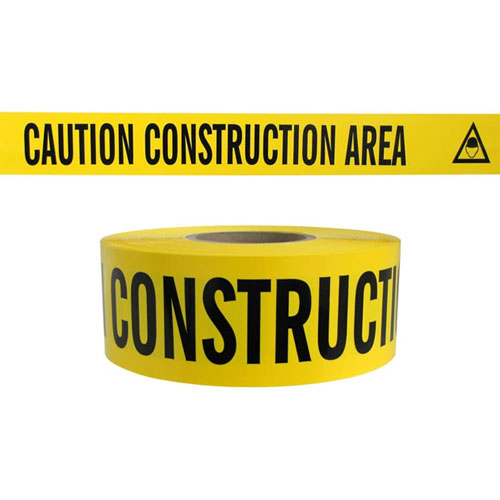 "Presco Standard Yellow 3 mil CAUTION CONSTRUCTION AREA Barricade Tape 3"" x 1000' - B3103Y2 (Case of 8 Rolls)"