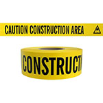"Presco Standard Yellow 3 mil CAUTION CONSTRUCTION AREA Barricade Tape 3"" x 1000' - B3103Y2 (Case of 8 Rolls) ES9827"