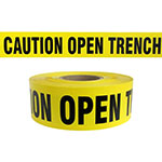 "Presco Standard Yellow 3 mil CAUTION OPEN TRENCH Barricade Tape 3"" x 1000' - B3103Y3 (Case of 8 Rolls) ES9828"