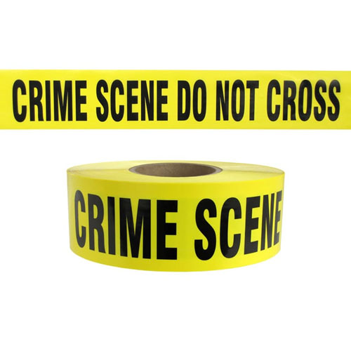 "Presco Standard Yellow 3 mil CRIME SCENE DO NOT CROSS Barricade Tape 3"" x 1000' - B3103Y49 (Case of 8 Rolls)"