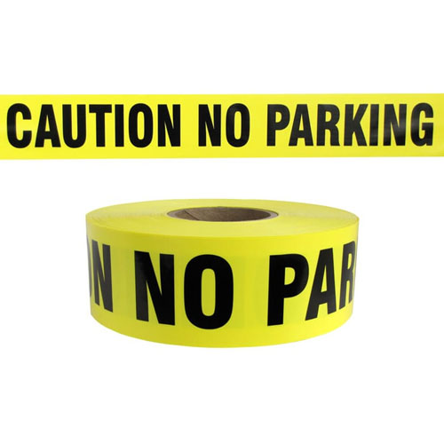 "Presco Standard Yellow 3 mil CAUTION NO PARKING Barricade Tape 3"" x 1000' - B3103Y7 (Case of 8 Rolls)"