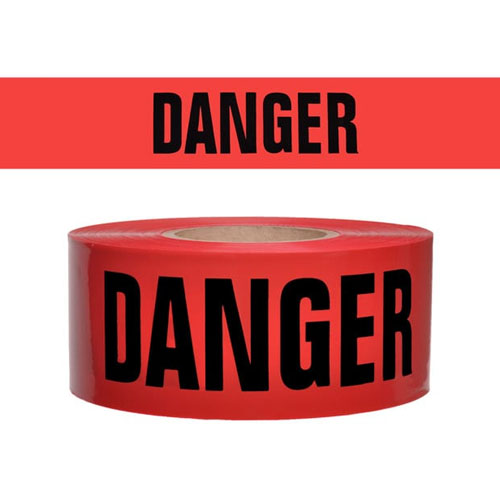 "Presco Standard Red 3 mil DANGER Barricade Tape 3"" x 300' - B333R21 (Case of 16 Rolls)"