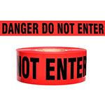 "Presco Standard Red 4 mil DANGER DO NOT ENTER Barricade Tape 3"" x 1000' - B3104R10 (Case of 8 Rolls) ES9835"
