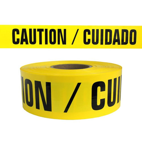 "Presco Standard Yellow 4 mil CAUTION/CUIDADO Barricade Tape 3"" x 1000' - B3104Y13 (Case of 8 Rolls)"