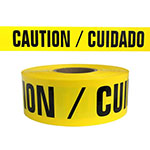 "Presco Standard Yellow 4 mil CAUTION/CUIDADO Barricade Tape 3"" x 1000' - B3104Y13 (Case of 8 Rolls) ES9837"