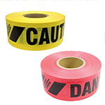 "Presco Reinforced Barricade Tape - 3"" x 500' - Case of 8 Rolls (2 Colors Available) ES9845"
