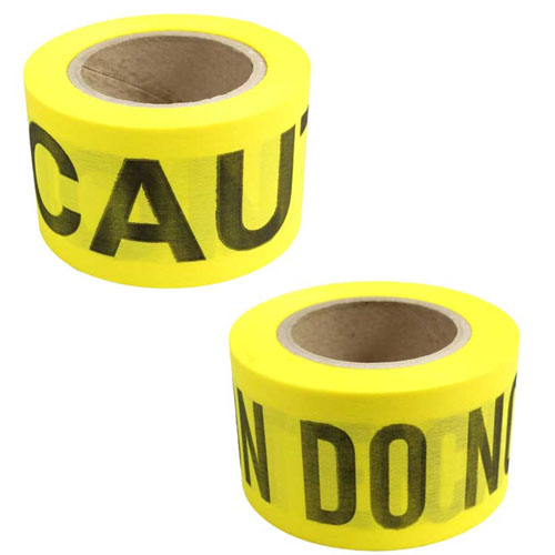 "Presco Yellow Biodegradable CAUTION Barricade Tape - 3"" x 150' - Case of 16 Rolls - BD315Y16"
