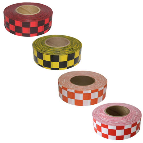 Presco Patterned Checkered Roll Flagging - 12 Rolls (4 Colors Available)