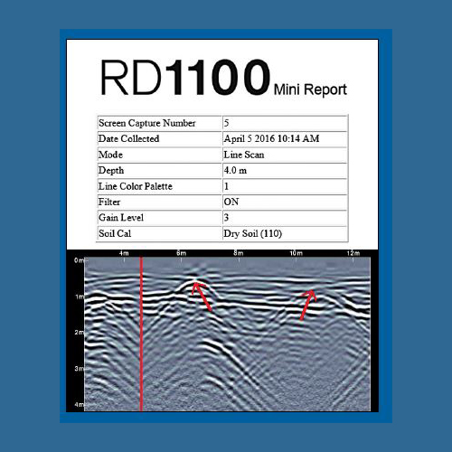 Mini report from the Radiodetection RD100 ground penetrating radar system.