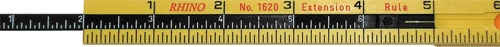 "Rhino Rulers Folding Carpenter's Ruler with 6"" Sliding Extension 55160"