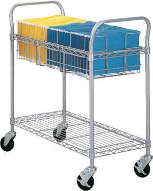 "Safco 36"" Wire Mail Cart 5236GR"