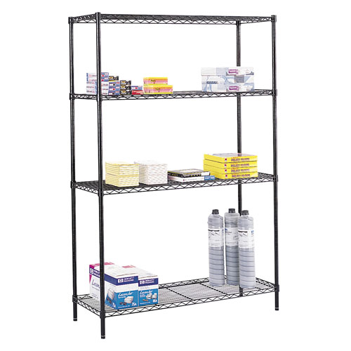 "Safco 48"" x 18"" Commercial Wire Shelving - Black - 5241BL"