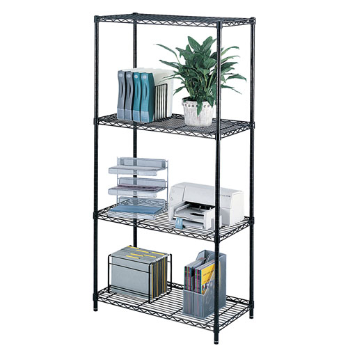 "Safco 36"" x 18"" Commercial Wire Shelving - Black - 5276BL"