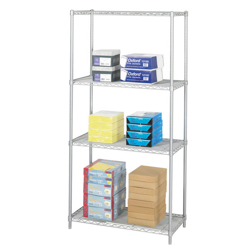 "Safco 36"" x 18"" Industrial Wire Shelving - Metallic Gray - 5285GR"