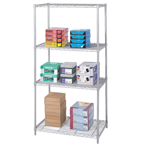 "Safco 36"" x 24"" Industrial Wire Shelving - Metallic Gray - 5288GR"