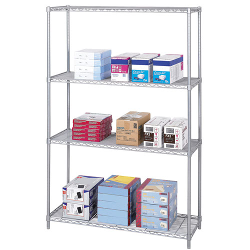 "Safco 48"" x 18"" Industrial Wire Shelving - Metallic Gray - 5291GR"