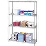 "Safco 48"" x 18"" Industrial Wire Shelving - Metallic Gray - 5291GR ES3369"