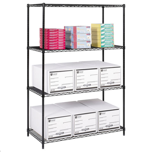 "Safco 48"" x 24"" Industrial Wire Shelving - Black - 5294BL"