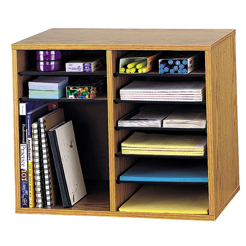 Safco Wood Adjustable Literature Organizer - 12 Compartment ES3837 9420MO