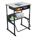"Safco AlphaBetter 28"" x 20"" Height Adjustable Desk with Beige Top and Book Box - 1202BE ES6059"