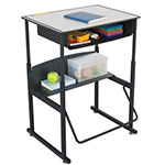 "Safco AlphaBetter 28"" x 20"" Height Adjustable Desk with Gray Premium Top and Book Box - 1204GR ES6061"