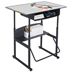 "Safco AlphaBetter 36"" x 24"" Height Adjustable Desk with Gray Premium Top and Book Box - 1209GR ES6066"