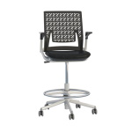 Safco Thesis Flex Back Stool with Arms, Black Fabric Seat - KSX1SBBLK ET11734
