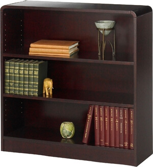 Safco 3-Shelf Radius-Edge Veneer Bookcase 1522MH ES3247