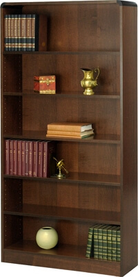 Safco 6-Shelf Radius-Edge Veneer Bookcase 1525WL ES3258