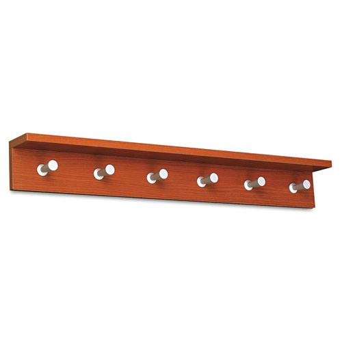 """Safco Contempo Wood Wall Rack, 6 Hook 4222CY"" ES3314"