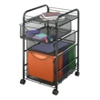 Safco Onyx Mesh File Cart with 1 File Drawer and 2 Small Drawers 5213BL ES3337