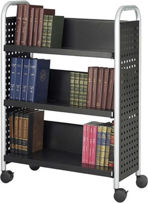 Safco Scoot Single Sided 3 Shelf Book Cart 5336BL