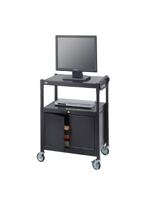 Safco Steel Adjustable AV Cart With Cabinet 8943BL ES3513