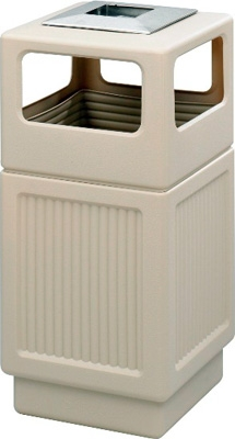 Safco Canmeleon Recessed Panel Side Opening with Urn Receptacle, 38 Gallon 9477TN