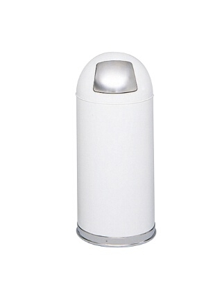 Safco Push Door Dome Top Receptacles 9636WH ES3559