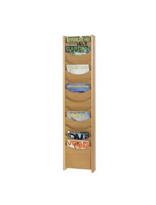 Safco 12-Pocket Wood Magazine Rack 4331MO (Medium Oak)